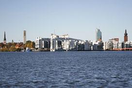 Västerås sett från Mälaren.