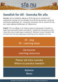 Vykort Svenska för alla/Swedish for all - sfa.nu