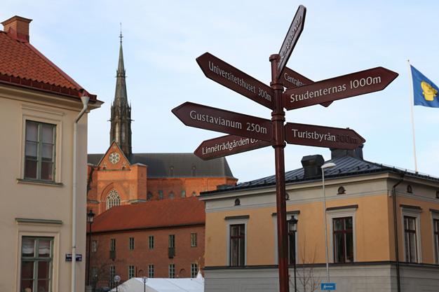 Uppsala med domkyrkan i bakgrunden.